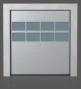Промышленные секционные ворота с алюминиевой остекленной панелью x2