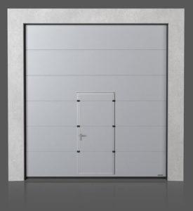 Промышленные секционные ворота с проходной дверью