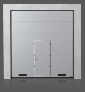 Промышленные секционные ворота с проходной дверью с вентиляционными решётками K-1