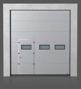 Промышленные секционные ворота с проходной передвинутой дверью с окошками A-1