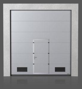 Промышленные секционные ворота с проходной дверью с вентиляционными решётками K-2