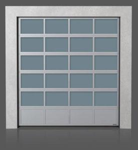Алюминиевые промышленные секционные ворота с нижней полной алюминиевой панелью