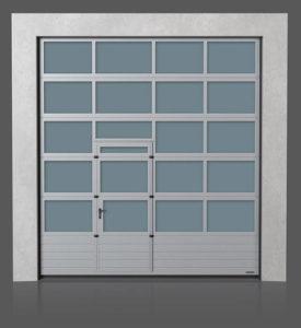 Алюминиевые промышленные секционные ворота с нижней полной стальной панелью и с проходной передвинутой дверью
