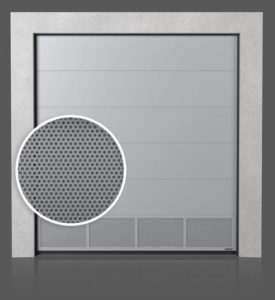 Промышленные секционные ворота с вентилируемой нижней панелью (с перфорированным листом)