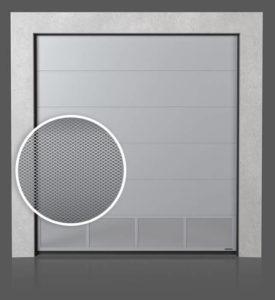 Промышленные секционные ворота с вентилируемой нижней панелью (с просечно-вытяжной сеткой)