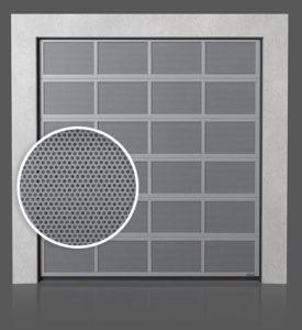 Алюминиевые промышленные секционные ворота с вентилируемыми панелями (с перфорированным листом)