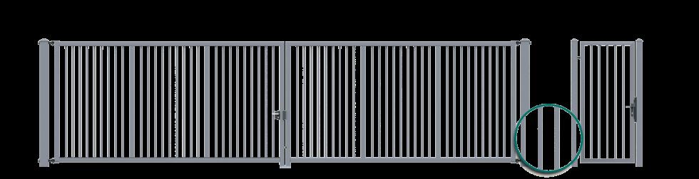 Двустворчатые ворота с заполнением в форме профилей 25 х 25 мм