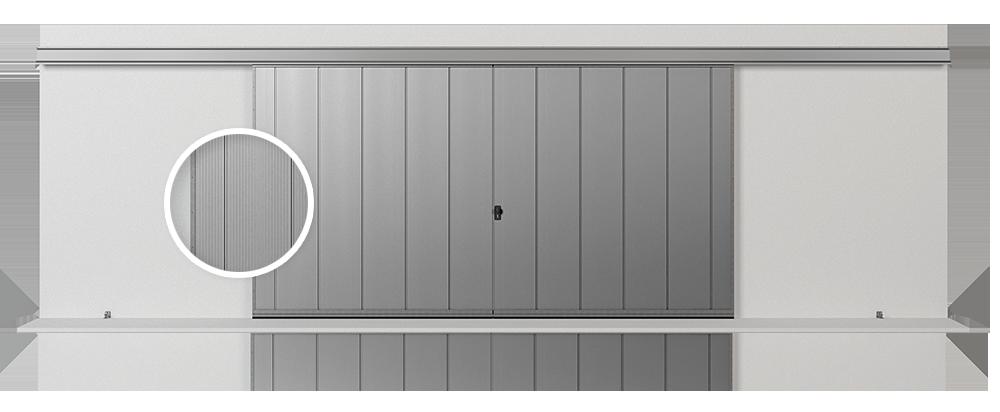 Откатные подвесные ворота SlidePro с формировкой V, вертикальное размещение листов