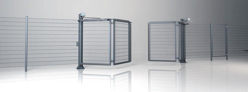 Системное ограждение с двустворчатыми воротами V-KING с заполнением решетчатой панелью Vega 2D Super