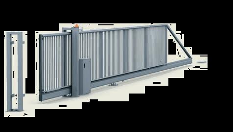 Откатные ворота PI 130 - управляемые вручную, с электроприводом, установленным в низком шкафу.