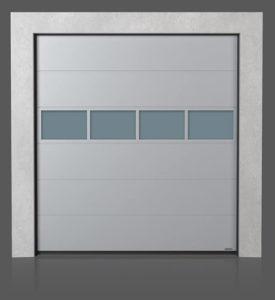 Промышленные секционные ворота с алюминиевой остекленной панелью