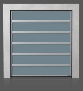 Алюминиевые промышленные секционные ворота с остеклением VISUAL