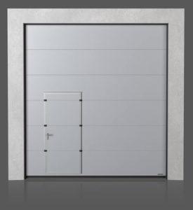 Промышленные секционные ворота с проходной передвинутой дверью