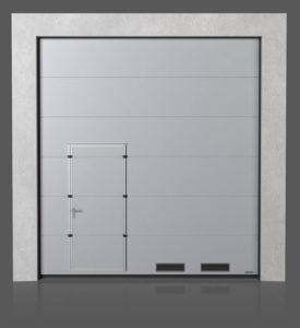 Промышленные секционные ворота с проходной передвинутой дверью с вентиляционными решётками K-1