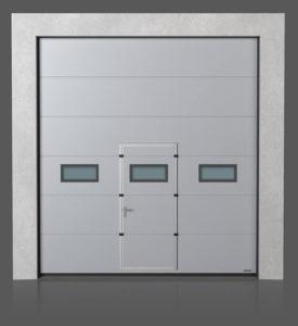 ПромышлПромышленные секционные ворота с проходной дверью с окошками A-1 енные секционные ворота с проходной дверью с окошками A-2