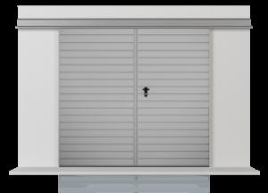 Подвесные откатные двухстворчатые ворота с обшивкой из горизонтально расположенного профильного листа Т-10