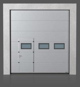 Промышленные секционные ворота с проходной передвинутой дверью с окошками A-2