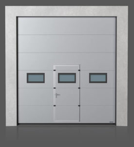 Промышленные секционные ворота с проходной дверью с окошками A-2