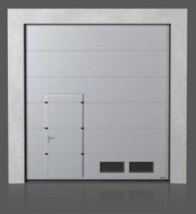 Промышленные секционные ворота с проходной передвинутой дверью с вентиляционными решётками K-2