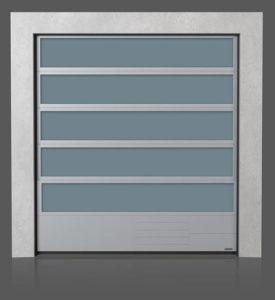 Алюминиевые промышленные секционные ворота с остеклением VISUAL с нижней стальной панелью G, V, N, W
