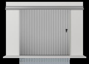 Подвесные откатные одностворчатые ворота с обшивкой из расположенного вертикально профильного листа Т-10