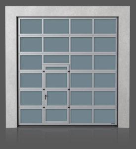 Алюминиевые промышленные секционные ворота с проходной передвинутой дверью
