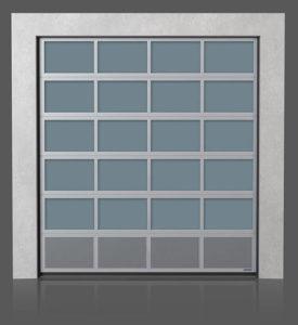 Алюминиевые промышленные секционные ворота с вентилируемой нижней панелью (с просечно-вытяжной сеткой)