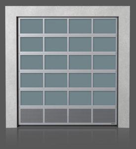 Алюминиевые промышленные секционные ворота с вентилируемой нижней панелью (с перфорированным листом)