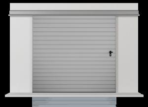 Подвесные откатные одностворчатые ворота с обшивкой из горизонтально вертикально профильного листа Т-10