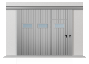 Подвесные откатные одностворчатые ворота с обшивкой из расположенного вертикально профильного листа Т-10, ворота с проходной дверью и горизонтально расположенными окошками