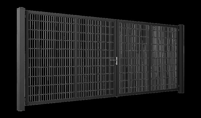 Двустворчатые ворота GARDIA заполнение решётчатой панелью Vega 2D