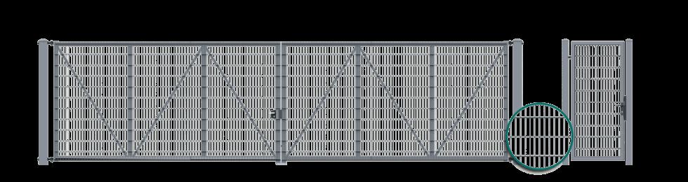 Двустворчатые ворота с заполнением в форме решетчатых панелей VEGA 2D Super