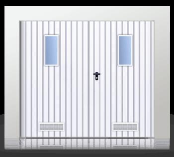 Распашные двухстворчатые ворота, заполненные профильным листом Т-10, с вертикально расположенными окошками и вентиляционной решеткой
