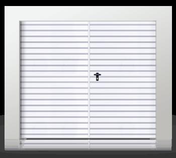 Распашные двухстворчатые ворота, заполненные расположенным горизонтально профильным листом Т-10