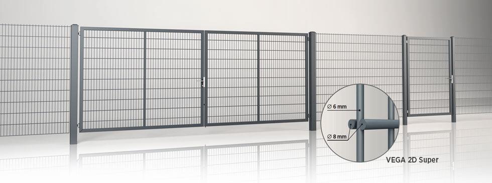 Системное ограждение с двустворчатыми воротами и калиткой GARDIA с заполнением решётчатой панелью Vega 2D Super wisniowski