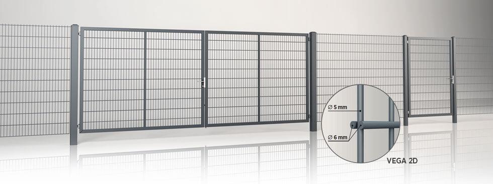 Системное ограждение с двустворчатыми воротами и калиткой GARDIA с заполнением решётчатой панелью Vega 2D Wisniowski