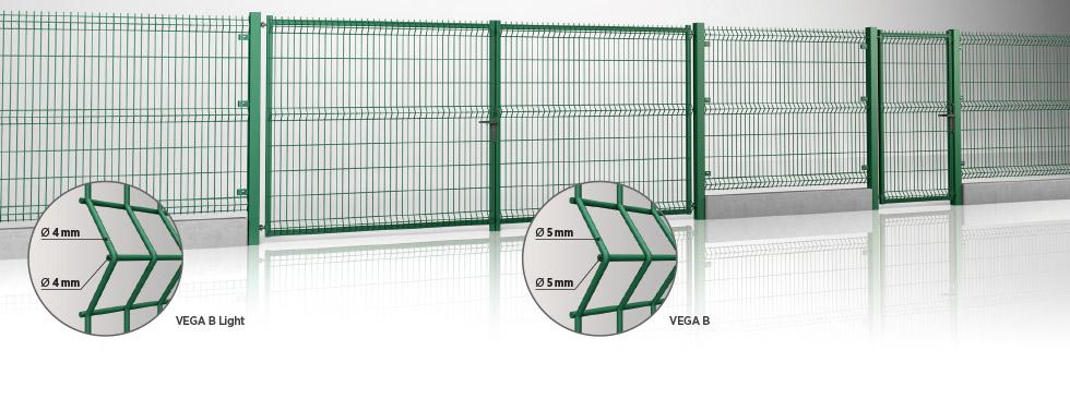 Системное ограждение: двустворчатыми воротами и калиткой MODEST - заполнение панелью Vega B light wisniowski