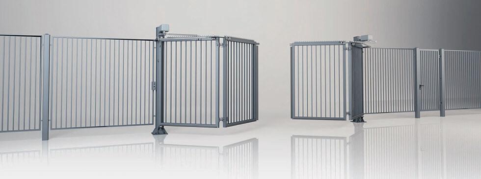 Системное ограждение с двустворчатыми воротами V-KING с заполнением профилем 25x25 мм